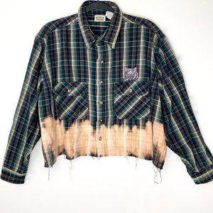 Bleach Raw Hem Cropped Flannel w/ Cat Patch